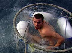 You go in the cage, cage goes in the water...